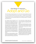 Post merger Integration adopt and go