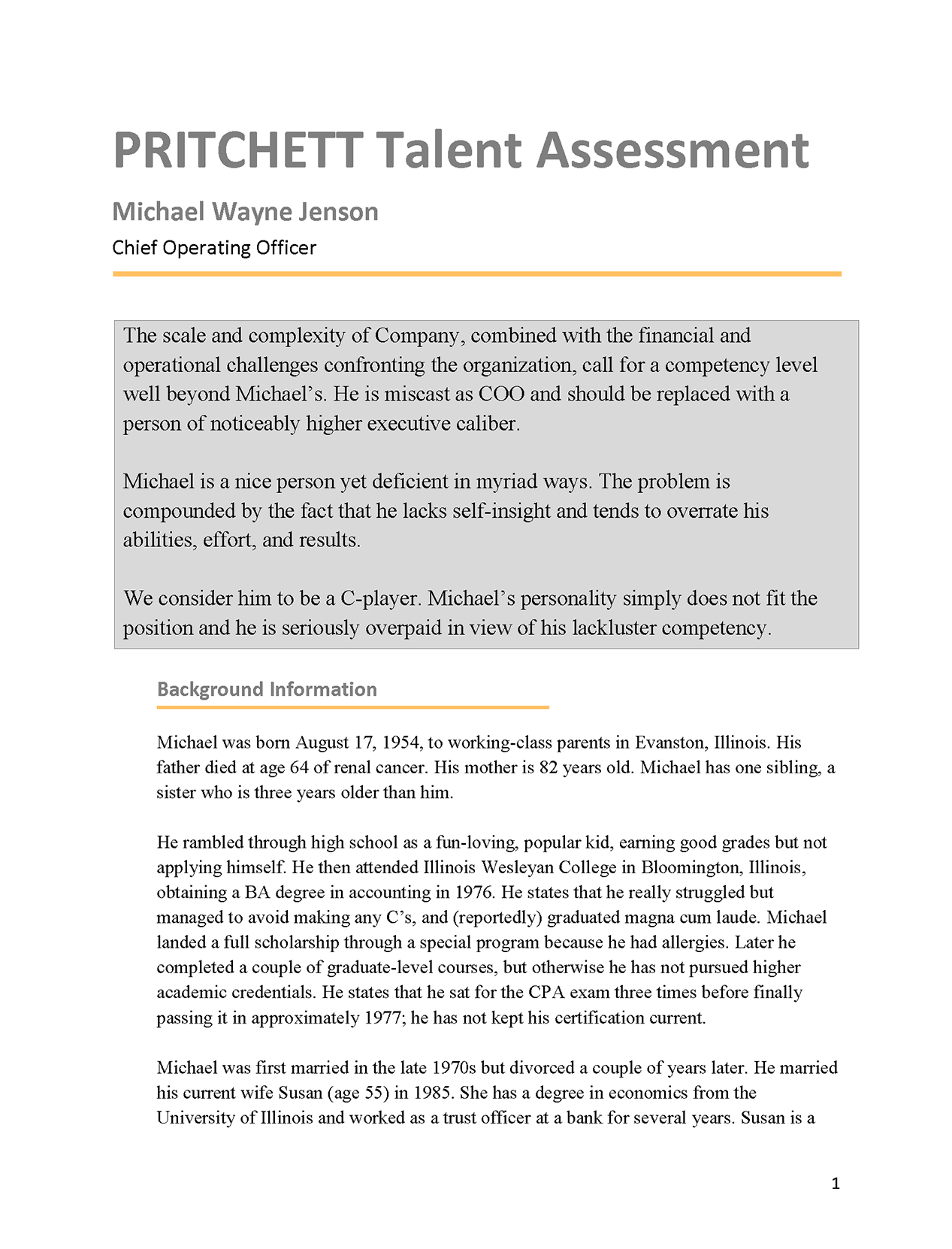 Chief Operating Officer Talent Assessment