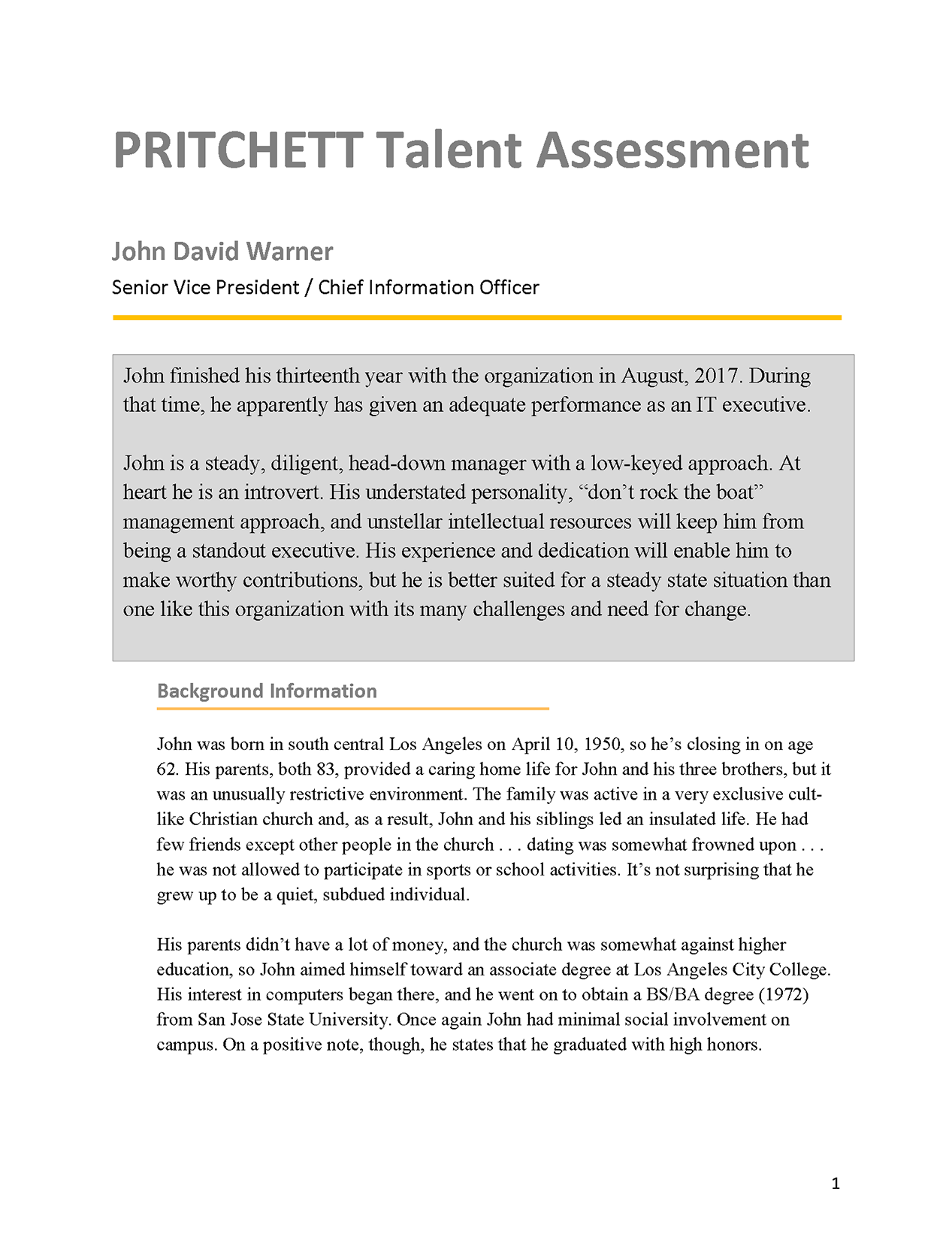 Senior Vice President Talent Assessment