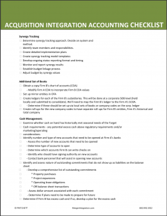 Acquisition Integration Accounting Checklist