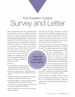 Post Acquisition Customer Survey