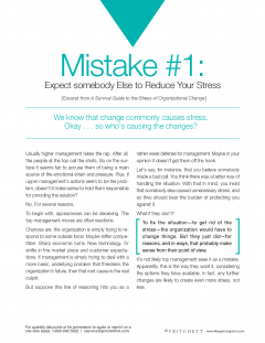 Mistake 1 Expect somebody else to reduce stress