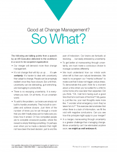 Good at change management so what