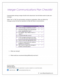 Merger Communications Plan Checklist