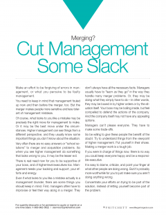 Merging cut management some slack