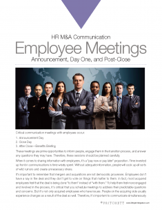 HR M&A Communication Employee Meetings: Announcement Day One