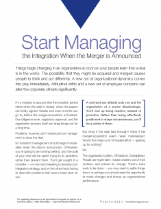 Start Managing Integration When Merger is Announced