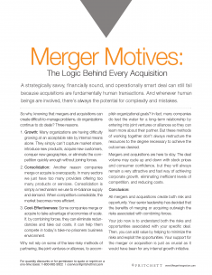 Merger Motives the logic behind every acquisition
