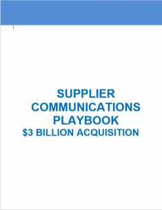Supplier Communications M&A Integration Playbook - $3 Billion Acquisition