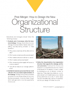 Post Merger how to design new organizational structure