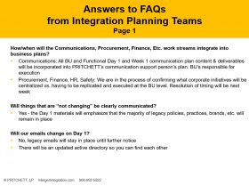 Answers to FAQs from Integration Planning Teams