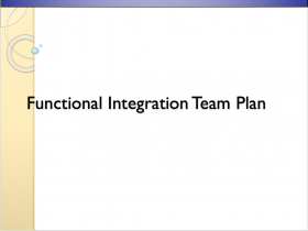 Functional Integration Team Plan