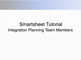 Smartsheet Tutorial for M&A Integration Team Members